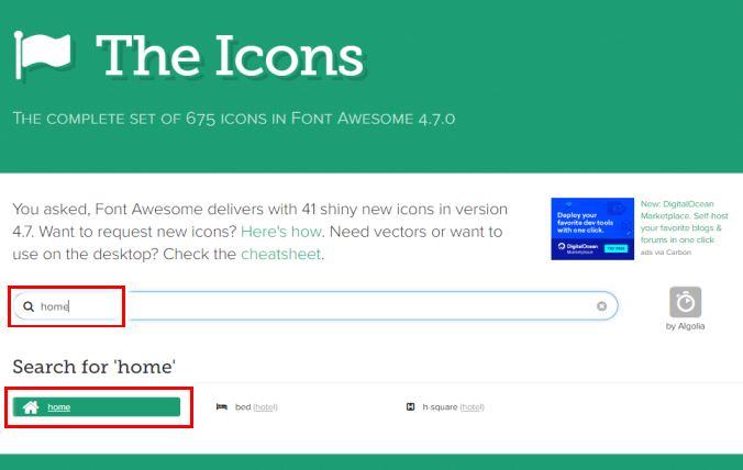 Font Awesomeのアイコン検索画面