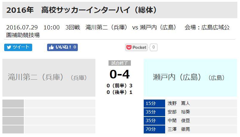 安部裕葵選手は瀬戸内高校ではインターハイに出場