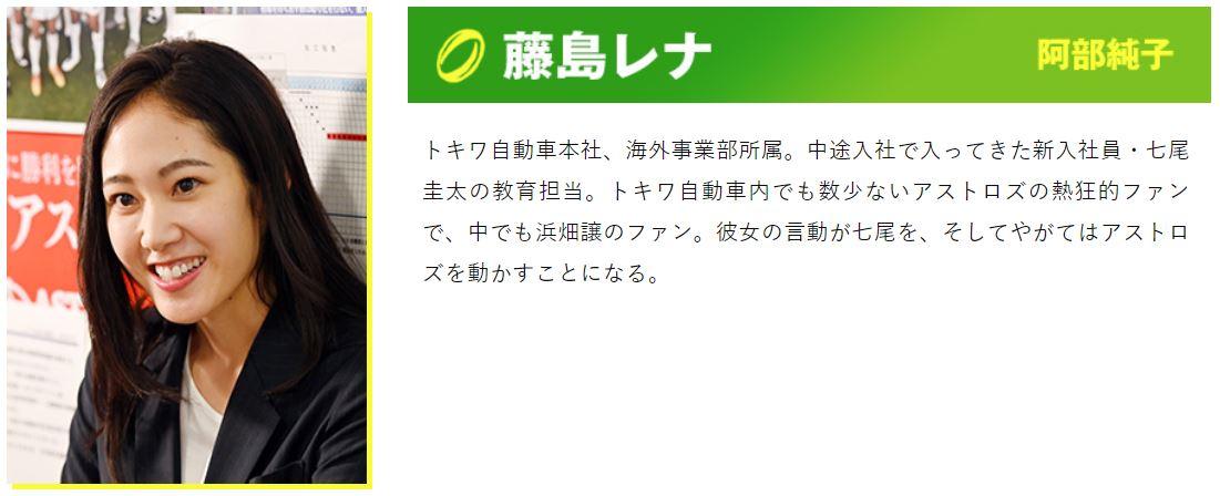ノーサイドゲームで熱狂的ファンで七尾の教育係の藤島レナを演じるのは阿部純子