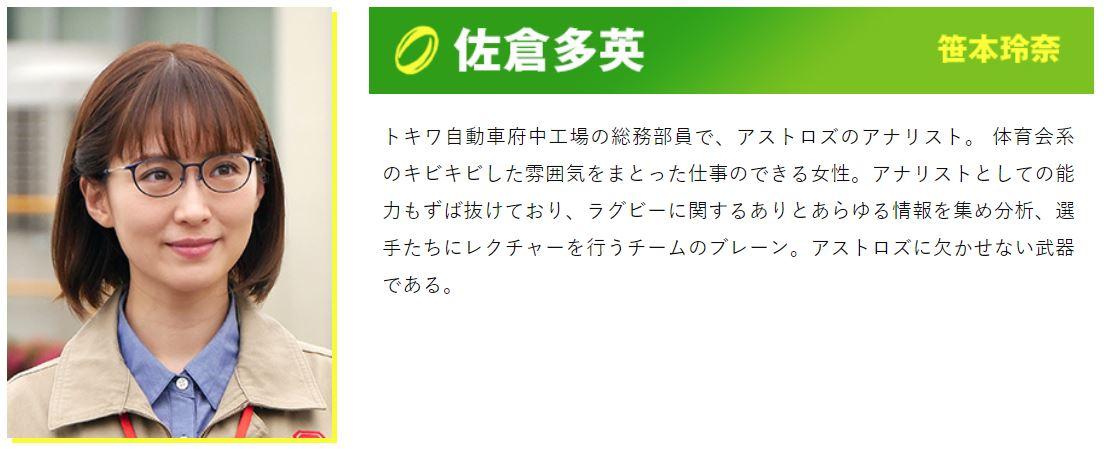 ノーサイドゲームで佐倉多英を演じるのは笹本玲奈