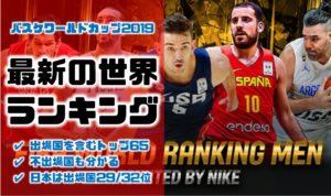 日本は32出場国中29位|バスケワールドカップ2019出場国の最新世界ランキング【不出場国を含むトップ65】