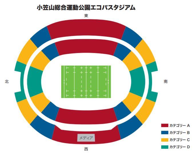 ラグビーワールドカップの静岡小笠山総合運動公園エコパスタジアムの座席表・シートマップ・座席番号