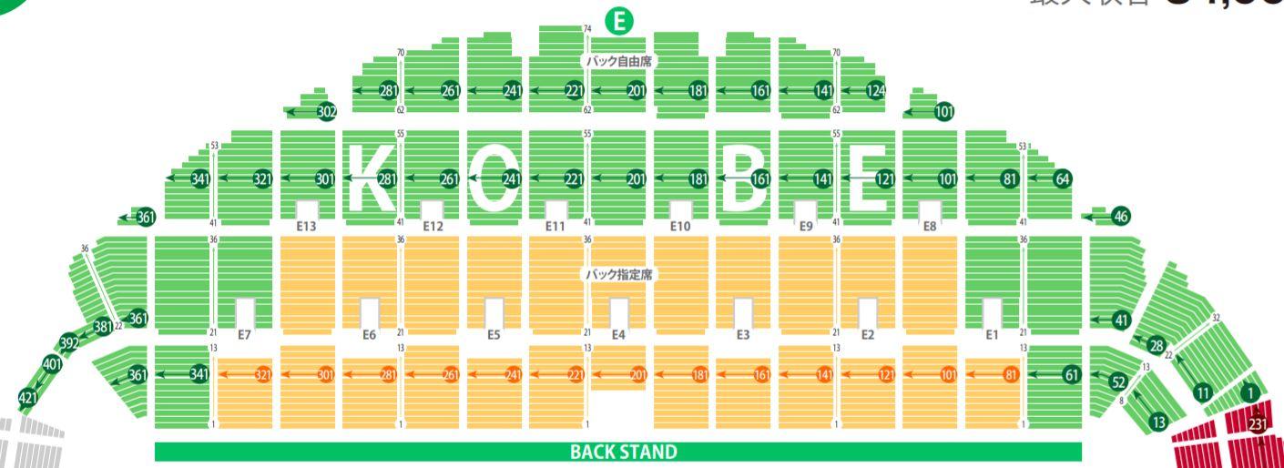 ラグビーワールドカップの神戸市御崎公園球技場(ノエビアスタジアム)の座席表・シートマップ・座席番号