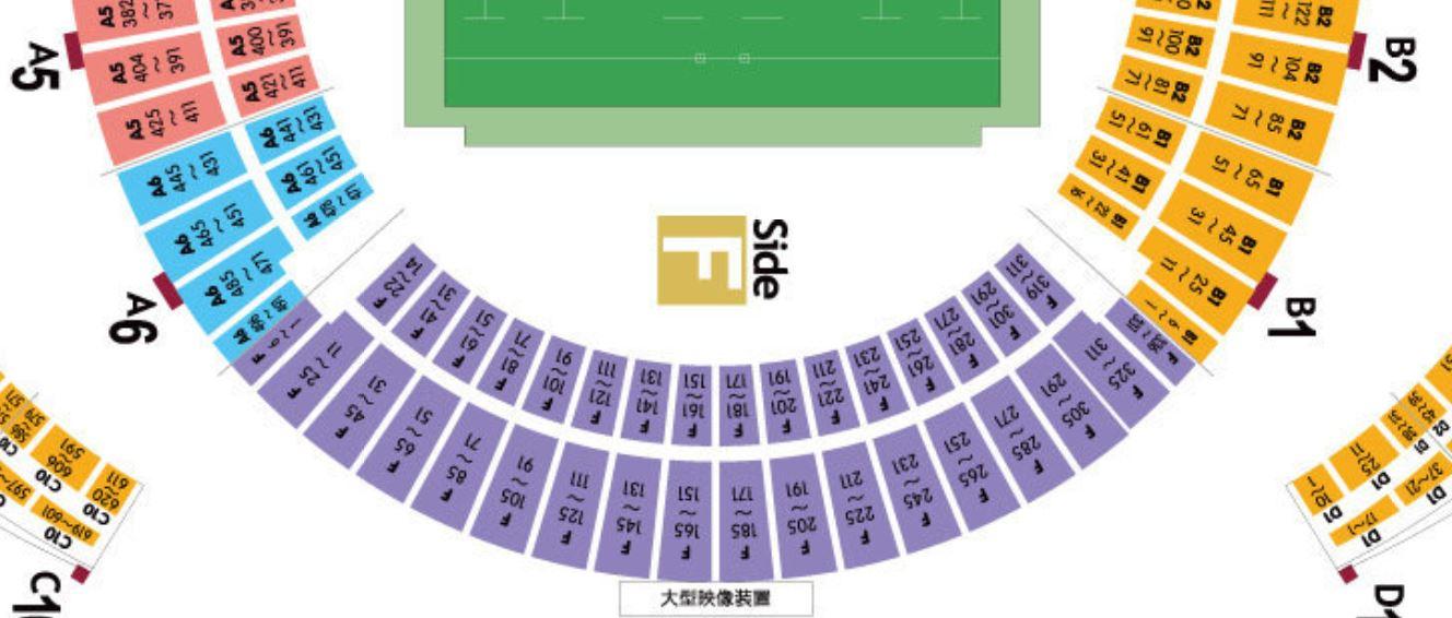 ラグビーワールドカップの大分スポーツ公園総合競技場(大分ドーム)の座席表・シートマップ