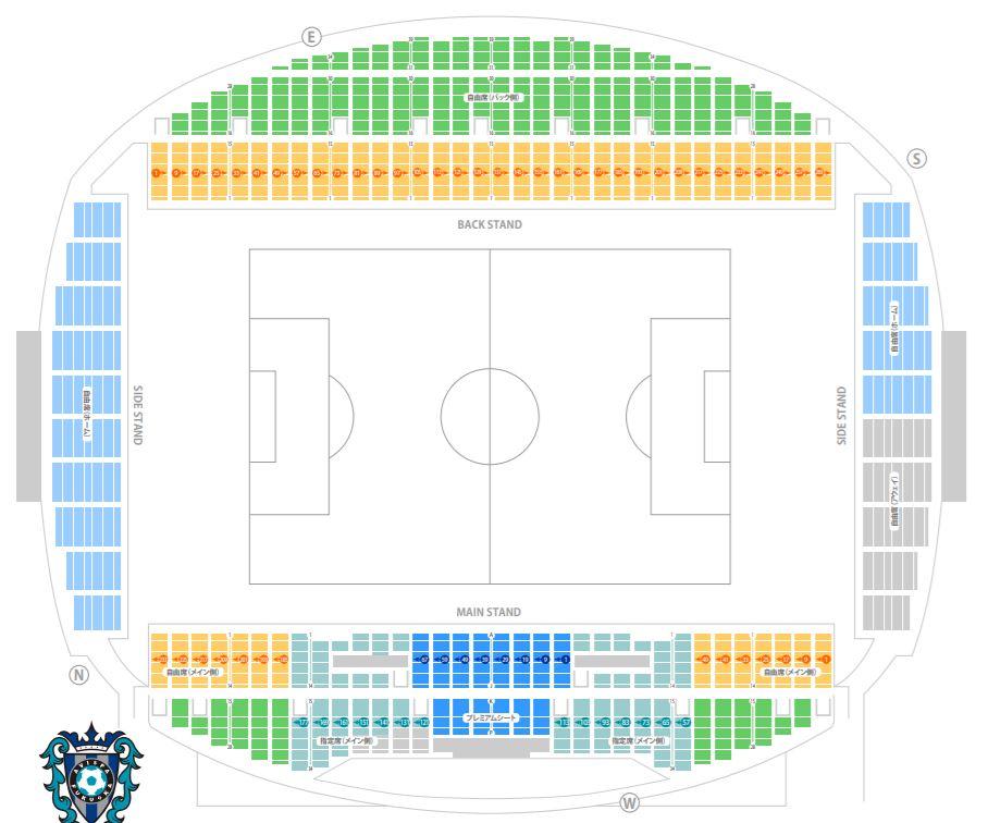 ラグビーワールドカップの東平尾公園博多の森球技場の座席表全体図