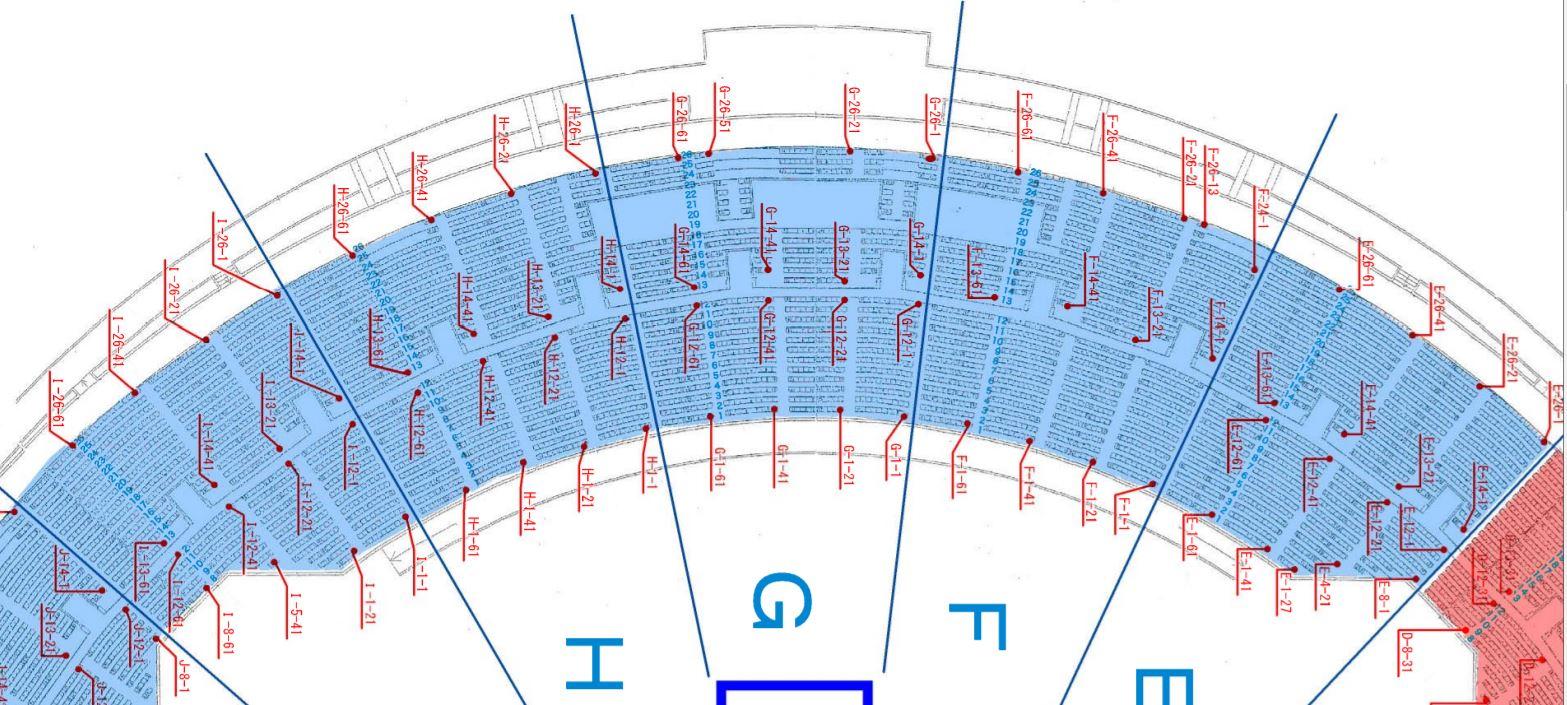 熊本県民総合運動公園陸上競技場(えがお健康スタジアム)の座席表・シートマップ・座席番号
