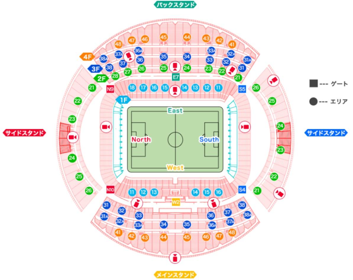 ラグビーワールドカップ会場の豊田スタジアムの座席表・シートマップ