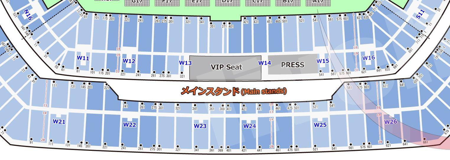 ラグビーワールドカップ2019の横浜国際総合競技場の座席表・シートマップ