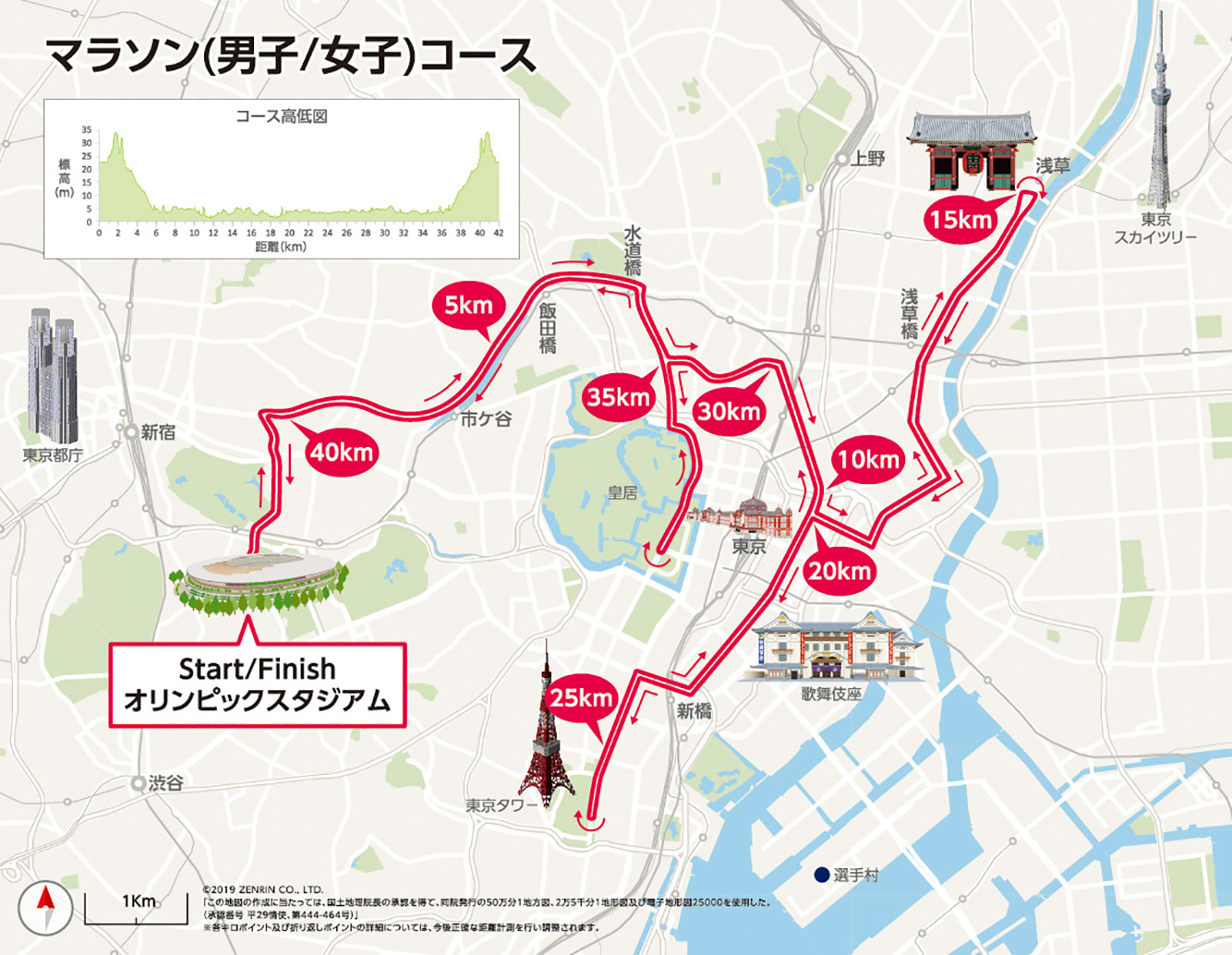 北海道札幌に変更決定する前の東京オリンピックのマラソンのコース