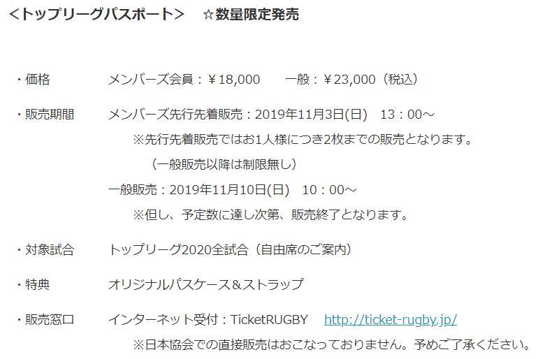 ラグビー日本代表の国内リーグのチケットトップリーグパスポートの概要