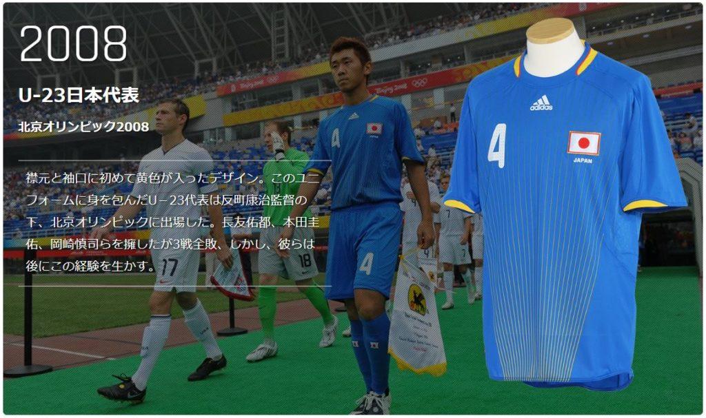 北京ペキンオリンピックのサッカー日本代表ユニフォーム
