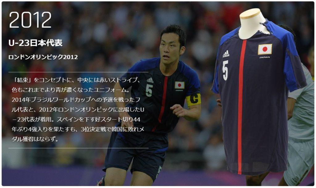 ロンドンオリンピックのサッカー日本代表ユニフォーム