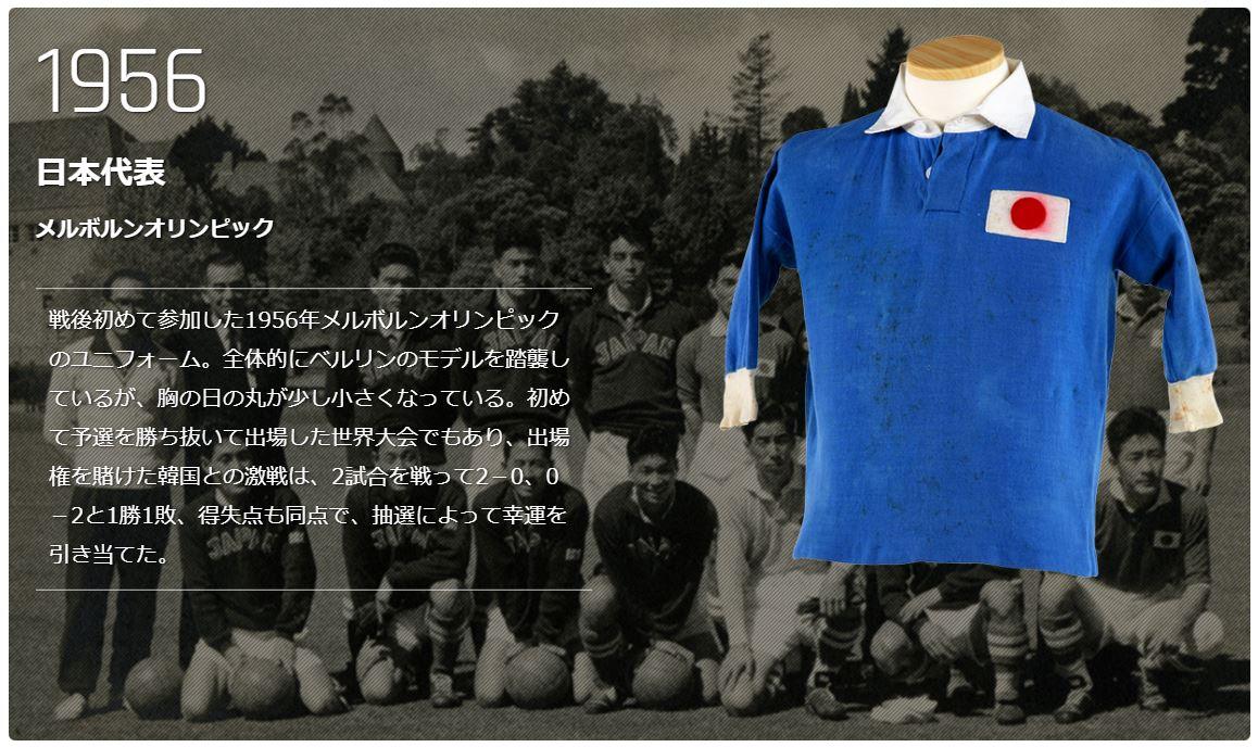 1956年メルボルンオリンピックのサッカー日本代表ユニフォーム