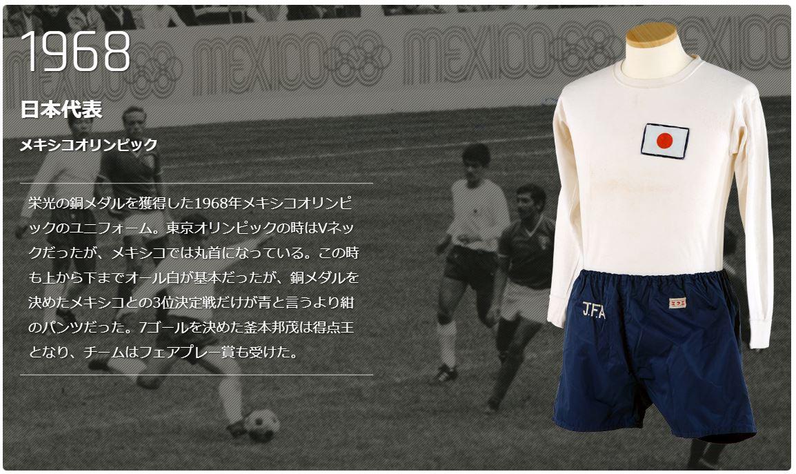 1968年メキシコオリンピックのサッカー日本代表ユニフォーム