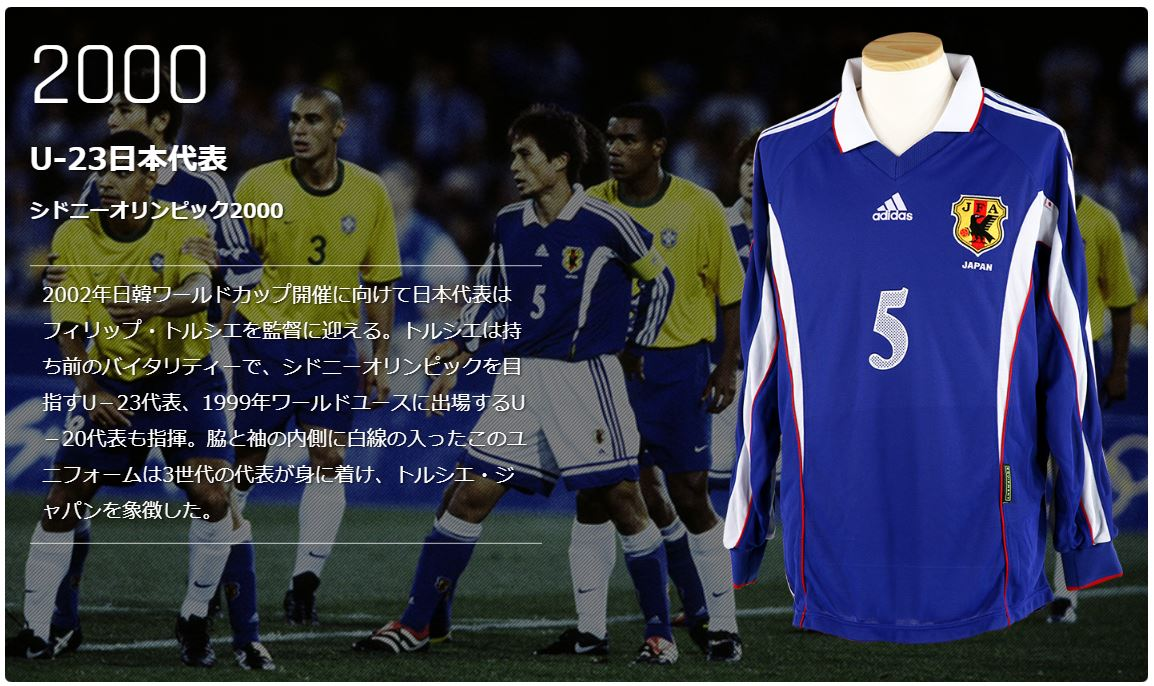 2000年シドニーオリンピックのサッカー日本代表ユニフォーム