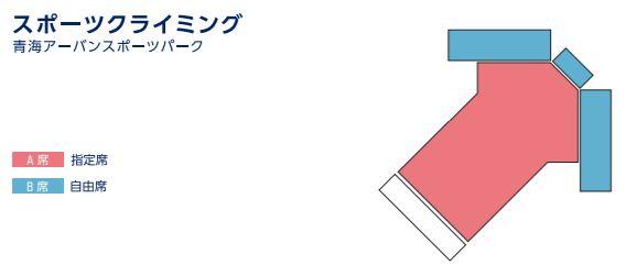 東京オリンピック2020のスポーツクライミングボルダリングの青海アーバンスポーツパークのチケットカテゴリー別座席