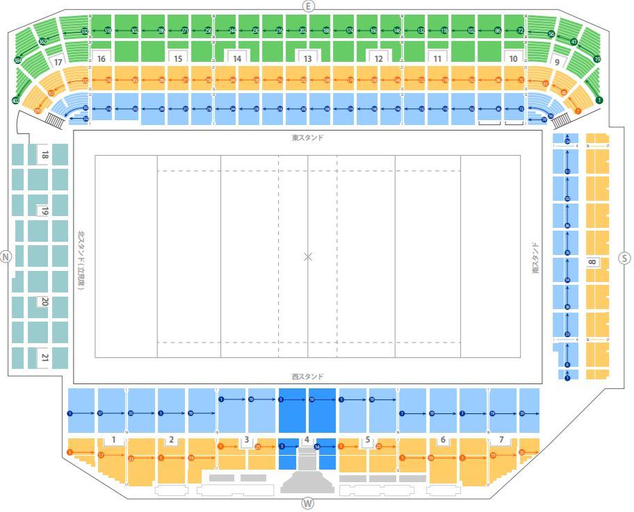 ラグビー国内リーグジャパントップリーグの東京秩父宮ラグビー場の座席表シートマップ