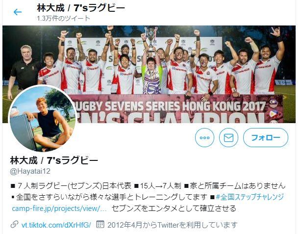7人制ラグビー日本代表メンバーの林大成選手のツイッタープロフィール