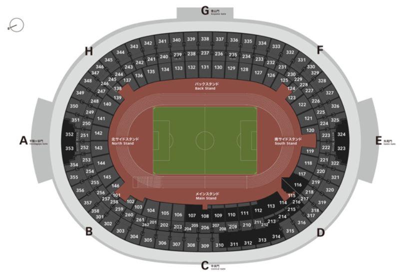 新国立競技場の全体座席表座席ブロック