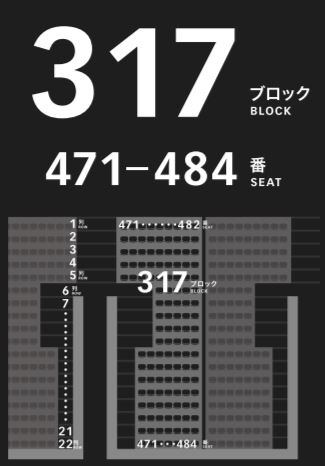 新国立競技場の4階メインスタンドの座席表座席番号